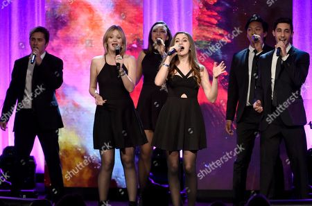 The SoCal VoCals perform a tribute to BMI Icon award winners Barry Mann and Cynthia Weil at the 64th annual BMI Pop Awards at the Beverly Wilshire Hotel, in Beverly Hills, Calif