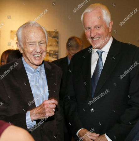 Haskell Wexler, left, and Garrett Brown attend the 67th Engineering Emmy Awards at the Loews Hollywood Hotel, in Los Angeles