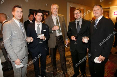 The Tiffen Company's Michael Craigs, from left, Andrew Tiffen, Robert Orf, Jacob Hawkins and Jeff Cohen attend the 67th Engineering Emmy Awards at the Loews Hollywood Hotel, in Los Angeles