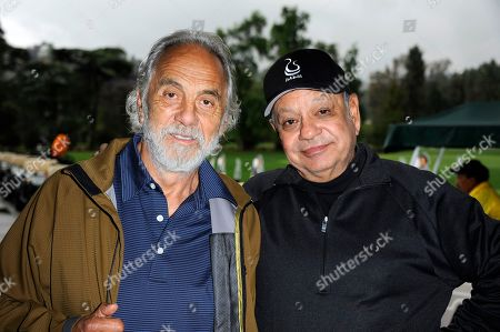 """Tommy Chong, left, and Richard """"Cheech"""" Marin arrive at the 6th Annual George Lopez Celebrity Golf Classic at the Lakeside Golf Club on in Toluca Lake, Calif"""