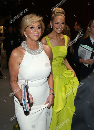 Joy Mangano, left, and Jackie Miranne appear backstage at the Oscars, at the Dolby Theatre in Los Angeles