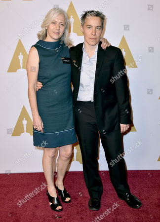 Dee Hibbert-Jones, left, and Nomi Talisman arrive at the 88th Academy Awards Nominees Luncheon at The Beverly Hilton hotel, in Beverly Hills, Calif