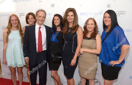 Stock Picture of Karen Skelton, second from left, and her daughter, Anne Marie, and from third left Nick Doob, Lindsey Miller, Maria Shriver, Shari Cookson, and Katrina Gilbert arrive at the 8th annual Television Academy Honors at the Montage hotel, in Beverly Hills, Calif
