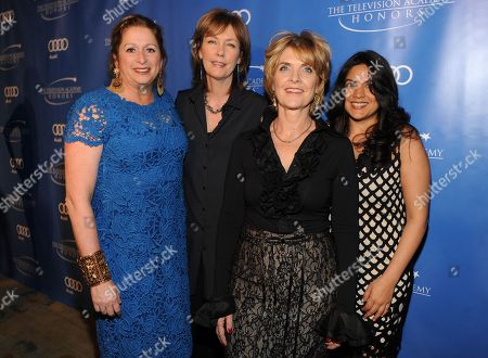 """Stock Picture of MAY 2: (L-R) Executive producers Abigail Disney, Pamela Hogan, Gini Reticker, and senior producer Nina Chaudry arrive at the Academy of Television Arts & Sciences Presents """"The 5th Annual Television Academy Honors"""" at the Beverly Hills Hotel on in Beverly Hills, California"""