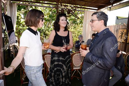 From left to right, actress Cristin Milioti, Monica Lewinsky, and talent manager Jason Weinberg seen at the Alan Cumming and Spotify Lunch celebrating the 67th Emmy Awards at Petit Ermitage on in West Hollywood, Calif