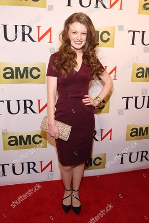 Actress Meegan Warner attends the premiere of AMC's new series TURN at The National Archives on in Washington, DC