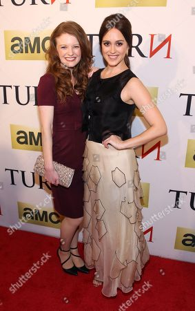 Actresses Meegan Warner and Heather Lind attend the premiere of AMC's new series TURN at The National Archives on in Washington, DC