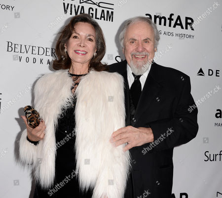 Producer George Schlatter, right, and his wife Jolene Brand arrive at the fourth annual amfAR Inspiration Gala at Milk Studios on in Los Angeles
