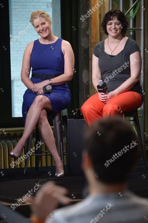 """Actress Anna Gunn, left, writer Amy Fox participate in AOL's BUILD Speaker Series to discuss the film """"Equity"""" at AOL Studios, in New York"""