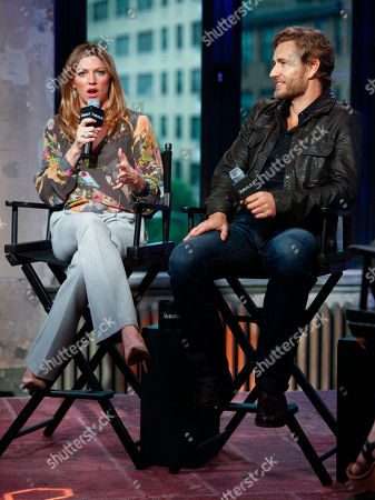 "Jes Macallan, left, and Brett Tucker, right, participate in AOL's BUILD Speaker Series to discuss the new ABC show, ""Mistresses"", at AOL Studios, in New York"