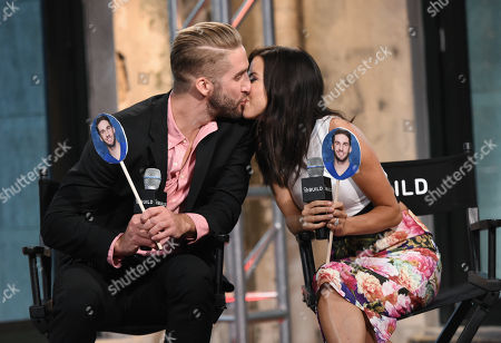 """Television personalities Kaitlyn Bristowe, right, and Shawn Booth participate in AOL's BUILD Speaker Series to discuss the reality show, """"The Bachelorette"""", at AOL Studios, in New York"""