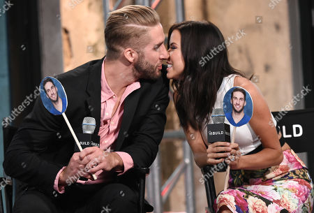 """Television personalities Shawn Booth and Kaitlyn Bristowe participate in AOL's BUILD Speaker Series to discuss the reality show, """"The Bachelorette"""", at AOL Studios, in New York"""