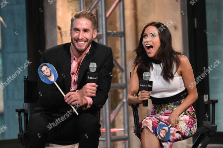 """Television personalities Shawn Booth, left, and Kaitlyn Bristowe participate in AOL's BUILD Speaker Series to discuss the reality show, """"The Bachelorette"""", at AOL Studios, in New York"""