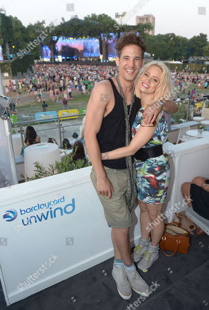 Max Roger and Kimberley Wyatt in the Barclaycard UNWIND VIP Lounge at Barclaycard presents British Summer Time at Hyde Park in London on