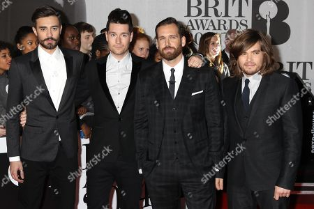 """English rock band Batille, Dan Smith, Kyle J Simmons, Chris """"Woody"""" Wood and William Farquarson arrive at the BRIT Awards 2014 at the O2 Arena in London on"""