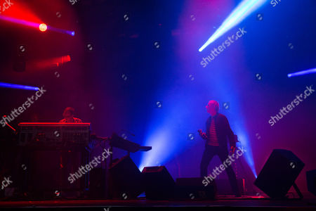 Rick Smith, left, and Karl Hyde of Underworld performs at Camp Bestival 2015 at Lulworth Castle, in Dorset, England. Thousands are to attend to see headliners Clean Bandit, Kaiser Chiefs and Underworld