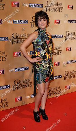 Rosabell Laurenti-Sellers poses for photographers upon arrival at the Tower of London for the world premiere of Game of Thrones, season 5, in London