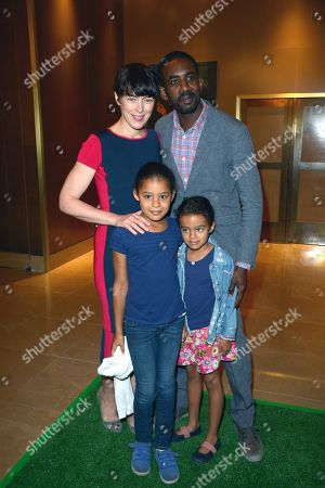 Olivia Williams, Rhashan Stone and daughters attend the UK Premiere of 'Justin and the Knights of Valour' at the Mayfair Hotel, in London