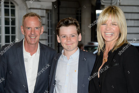 Woody Cook, Zoe Ball and Norman Cook pose for photographers upon arrival for the UK Gala screening of Man Up at a central London cinema