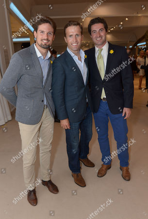 Stephen Bowman, Oliver Baines and Humphrey Berney are seen at the The Masterpiece Marie Curie Party in London on