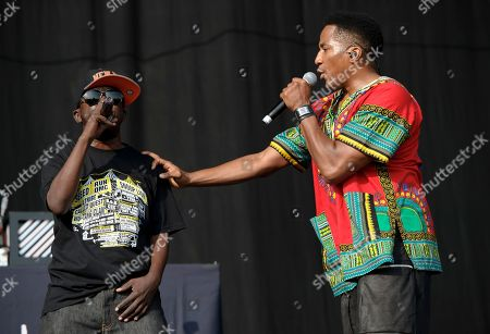 From left, Phife Dawg and Q-Tip, from U.S group A Tribe Called Quest performs on stage during the Wireless Festival at the Queen Elizabeth Olympic Park, London