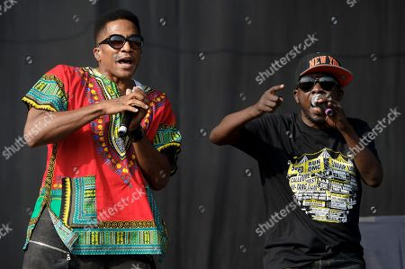 From left, Q-Tip and Phife Dawg from U.S group A Tribe Called Quest performs on stage during the Wireless Festival at the Queen Elizabeth Olympic Park, London