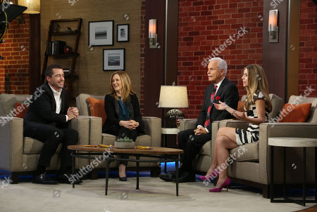 """Stock Photo of Butterfinger Cups butt into awards season with special commentators Jason Jones and Samantha Bee as they are interviewed by Steve Edwards and Maria Sansone, left to right, on """"Good Day LA"""" on in Los Angeles. Follow their adventures at ButterfingerCups.com"""