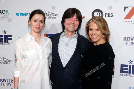 From left, Lilly Burns, Ken Burns, AND Katie Couric attend CANCER: THE EMPEROR OF ALL MALADIES screening at Jazz at the Lincoln Center on in New York