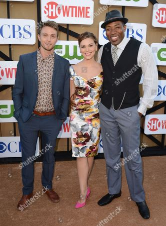 From left, Wilson Bethel, Kaitlyn Black and Cress Williams arrive at the CBS, CW and Showtime TCA party at The Beverly Hilton on in Beverly Hills, Calif