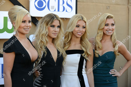 Stock Picture of Catherine Marin, Jackie Marin, Jen Marin and Lauren Marin arrive at the CBS, CW and Showtime TCA party at The Beverly Hilton on in Beverly Hills, Calif