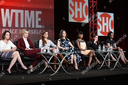 """From left, Michelle Ashford, Caitlin Fitzgerald, Nancy M. Pimental, Emmy Rossum, Shanola Hampton, Maura Tierney, and Sarah Treem speak on stage during the """"Sexuality and Television: A Female Perspective"""" panel at the CBS/Showtime 2015 Winter TCA, in Pasadena, Calif"""