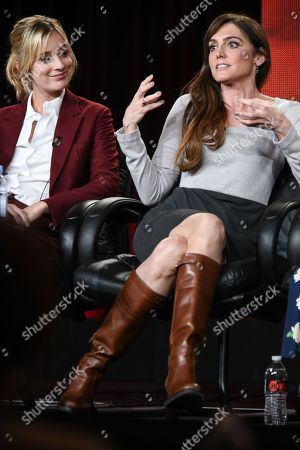 """Caitlin Fitzgerald, left, and Nancy M. Pimental speak on stage during the """"Sexuality and Television: A Female Perspective"""" panel at the CBS/Showtime 2015 Winter TCA, in Pasadena, Calif"""