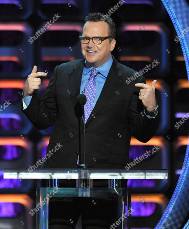 """Stock Photo of Tom Arnold appears on stage at the Comedy Central """"Roast of Roseanne"""" at the Hollywood Palladium, in Los Angeles"""