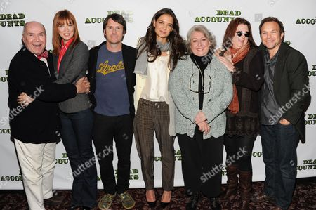 "The cast and creators of the Broadway play ""Dead Accounts"", from left, director Jack O'Brien, Judy Greer, Josh Hamilton, Katie Holmes, Jayne Houdyshell, playwright Theresa Rebeck and Norbert Leo Butz pose for a photo during press day at Sardi's Restaurant on in New York"