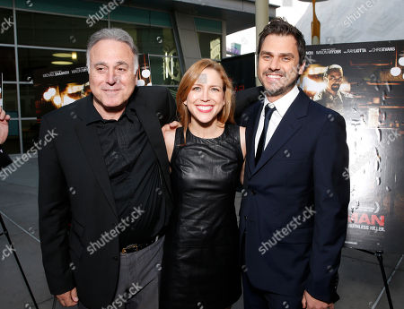Stock Picture of Producer Ehud Bleiberg, executive producer Laura Rister and director Ariel Vromen attend the DeLeon Tequila special screening of The Iceman at the Arclight on in Los Angeles