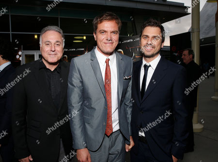 Stock Image of Producer Ehud Bleiberg, Michael Shannon and director Ariel Vromen attend the DeLeon Tequila special screening of The Iceman at the Arclight on in Los Angeles