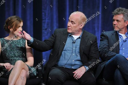 Actress Elizabeth Henstridge (L) and producers Jeph Loeb and Jeffrey Bell attend the Disney/ABC Television Group's 2013 Summer TCA panel at the Beverly Hilton Hotel on in Beverly Hills, Calif