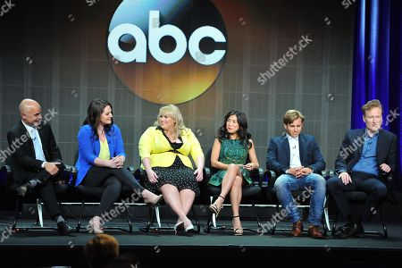"Super Fun Night"" cast and crew ( L-R): John Riggi, Lauren Ash, Rebel Wilson, Liza Lapira, Kevin Bishop and Conan O'Brien attend the Disney/ABC Television Group's 2013 Summer TCA panel at the Beverly Hilton Hotel on in Beverly Hills, Calif"