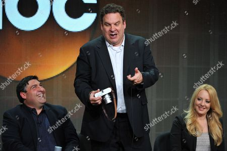 Producer Adam F. Goldberg (L) and actors Jeff Garlin and Wendi McLendon-Covey attend the Disney/ABC Television Group's 2013 Summer TCA panel at the Beverly Hilton Hotel on in Beverly Hills, Calif