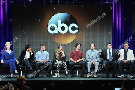 "Cast and crew of ""Once Upon A Time In Wonderland"" (L_R): Emma Rigby, Naveen Andrews, Michael Socha, Sophie Lowe, Peter Gadiot, Edward Kitsis, Adam Horowitz and Zack Estrin attend the Disney/ABC Television Group's 2013 Summer TCA panel at the Beverly Hilton Hotel on in Beverly Hills, Calif"