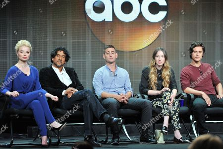 """Cast of """"Once Upon A Time In Wonderland"""" (L_R): Emma Rigby, Naveen Andrews, Michael Socha, Sophie Lowe and Peter Gadiot attend the Disney/ABC Television Group's 2013 Summer TCA panel at the Beverly Hilton Hotel on in Beverly Hills, Calif"""