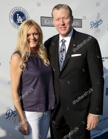 Orel Hershiser, right, and Dana Deaver attend the Los Angeles Dodgers Foundation Blue Diamond Gala at Dodgers Stadium, in Los Angeles