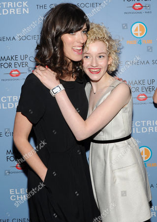 """Writer and director Rebecca Thomas, left, and actress Julia Garner attend a special screening of """"Electrick Children"""" hosted by the Cinema Society and Make Up For Ever at the IFC Center on in New York"""