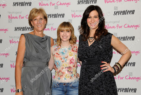 """Publisher Jayne Jamison, left, actress Emma Roberts and Seventeen editor-in-chief Ann Shoket attend Seventeen Magazine's """"Pretty Amazing"""" finalists luncheon at Hearst Tower on in New York"""