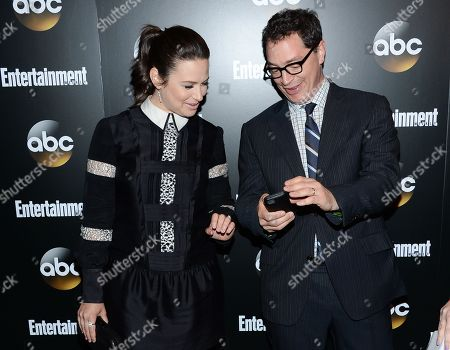 """Actors Katie Lowes and Josh Malina from the show """"Scandal"""" attend the Entertainment Weekly and ABC network upfront party, in New York"""