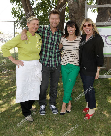 Border Grill Owner/Chef Mary Sue Milliken, Lance Bass, Constance Zimmer and EMA President Debbie Levin attend the Environmental Media Association School Garden Program Luncheon at Carson Senior High School on in Los Angeles