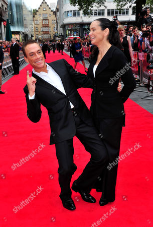 Jean Claude Van Damme, Gladys Portugues poses at Expendables 2 UK Premiere at Empire Leicester Square on in London
