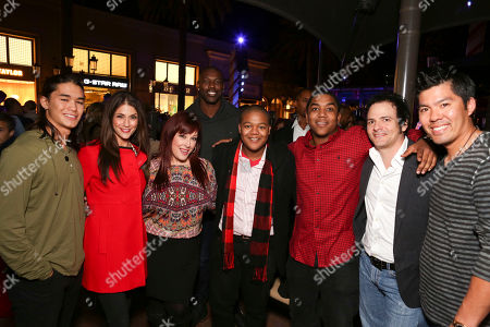 From left, Booboo Stewart, Samantha Harris, Carnie Wilson, Terrell Owens, NFL wide receiver, Kyle Massey, Christopher Massey, Robert Bonfiglio, Wilson Phillips Producer and Kurt Suzuki, Major League Baseball catcher pose during the Christmas tree lighting ceremony at Fashion Island, in Newport Beach, Calif