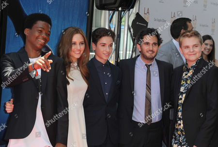 """Brian """"Astron"""" Bradley, from left, Ella Linnea Wahstedt, Teo Halm, Dave Green, and Reese Hartwig arrives at The Los Angeles Film Festival Earth to Echo Premiere at Regal Cinemas L.A. Live Stadium, in Los Angeles"""