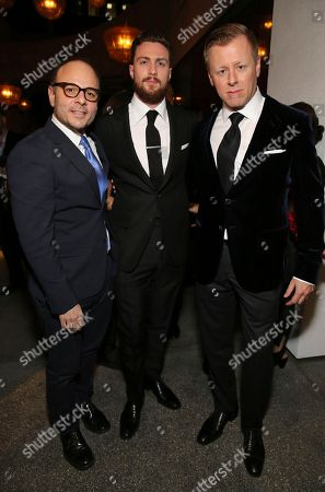 "Producer Robert Salerno, Aaron Taylor-Johnson and Composer Abel Korzeniowski seen at Focus Features Los Angeles Special Screening of ""Nocturnal Animals"" at Hammer Museum, in Los Angeles"